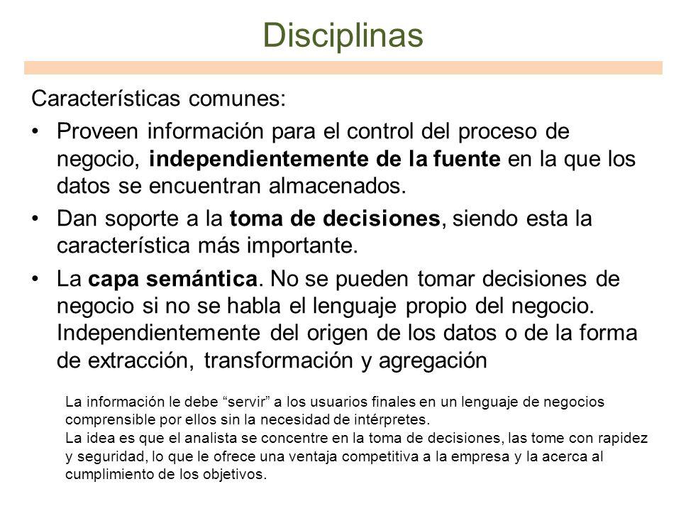 Disciplinas Características comunes: Proveen información para el control del proceso de negocio, independientemente de la fuente en la que los datos s