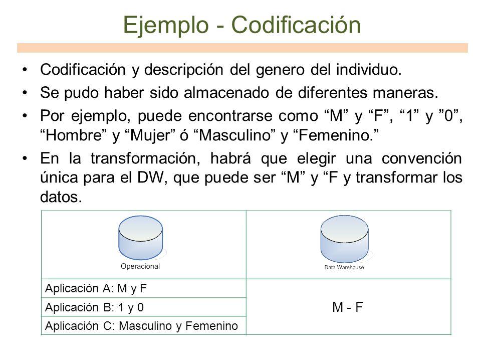 Ejemplo - Codificación Codificación y descripción del genero del individuo. Se pudo haber sido almacenado de diferentes maneras. Por ejemplo, puede en