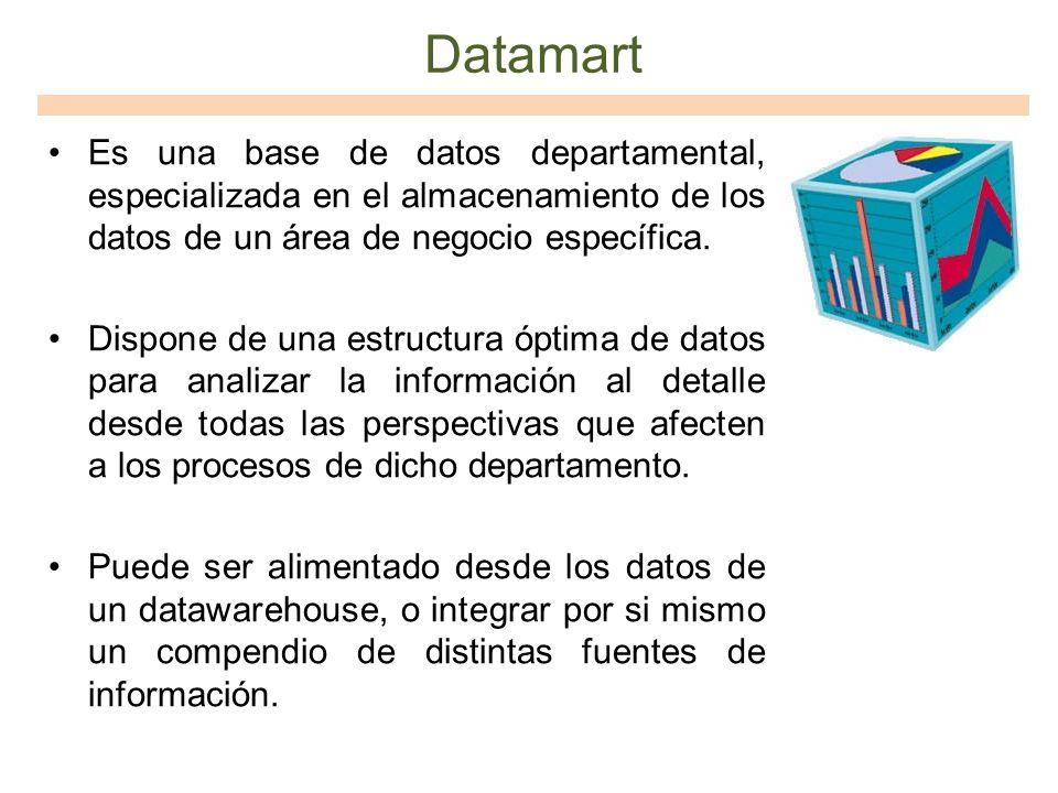 Datamart Es una base de datos departamental, especializada en el almacenamiento de los datos de un área de negocio específica. Dispone de una estructu
