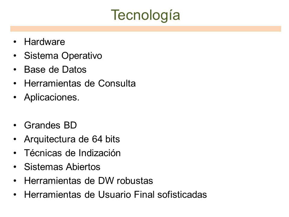 Tecnología Hardware Sistema Operativo Base de Datos Herramientas de Consulta Aplicaciones. Grandes BD Arquitectura de 64 bits Técnicas de Indización S