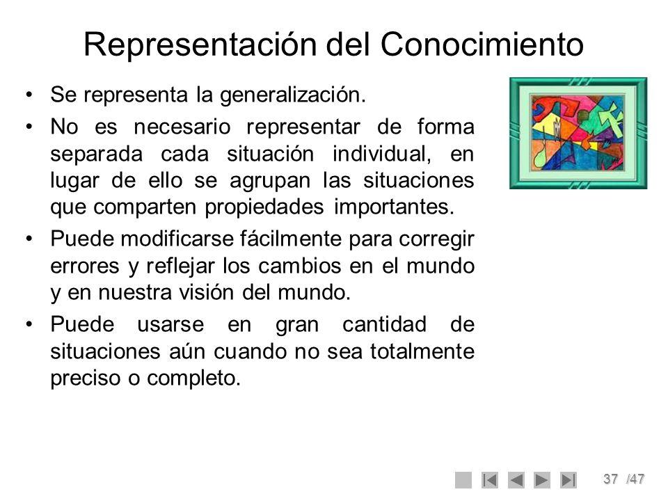 37/47 Representación del Conocimiento Se representa la generalización. No es necesario representar de forma separada cada situación individual, en lug
