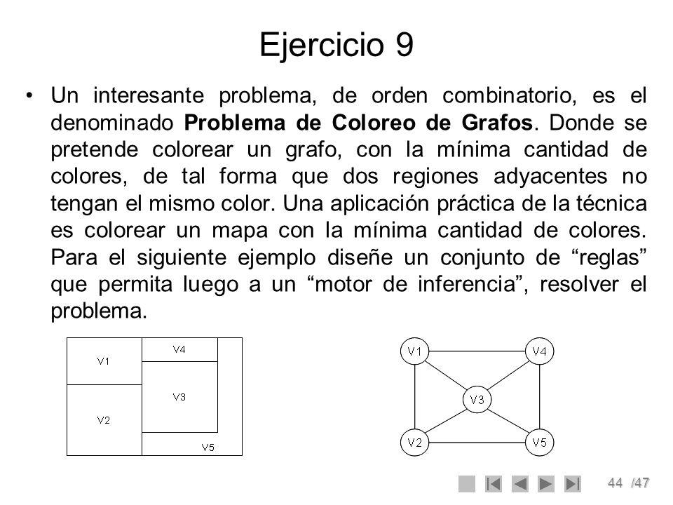 44/47 Ejercicio 9 Un interesante problema, de orden combinatorio, es el denominado Problema de Coloreo de Grafos. Donde se pretende colorear un grafo,