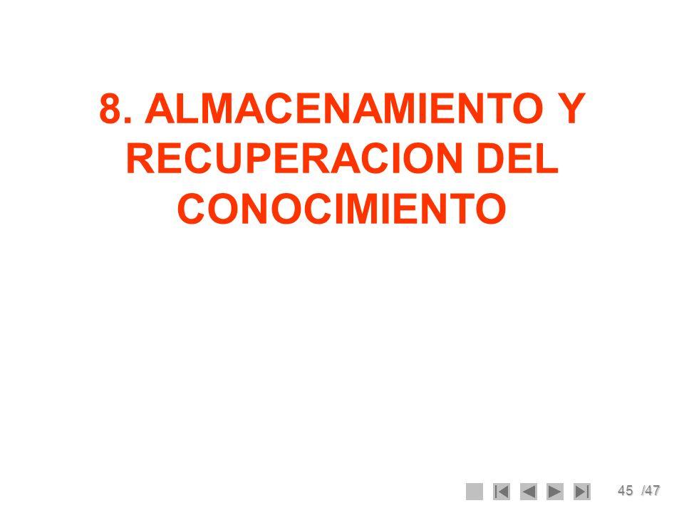 45/47 8. ALMACENAMIENTO Y RECUPERACION DEL CONOCIMIENTO