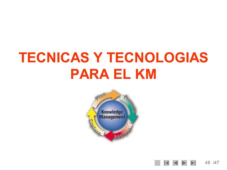 49/47 TECNICAS Y TECNOLOGIAS PARA EL KM