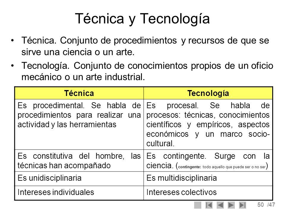50/47 Técnica y Tecnología Técnica. Conjunto de procedimientos y recursos de que se sirve una ciencia o un arte. Tecnología. Conjunto de conocimientos