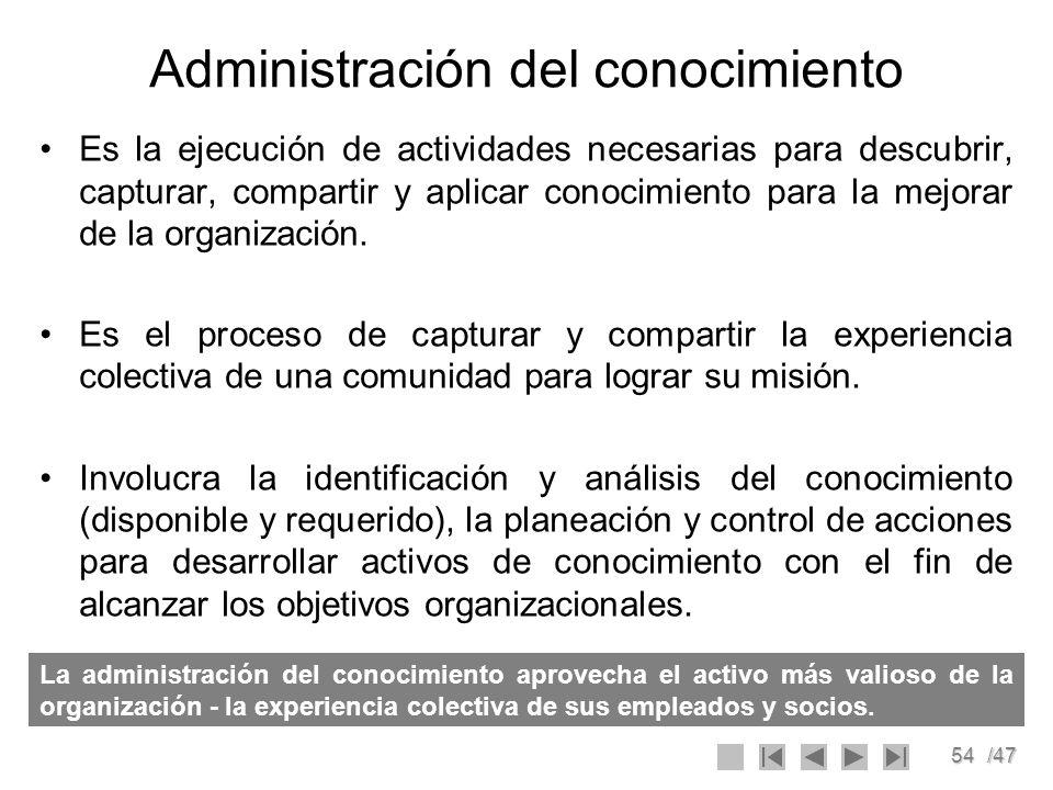 54/47 Administración del conocimiento Es la ejecución de actividades necesarias para descubrir, capturar, compartir y aplicar conocimiento para la mej
