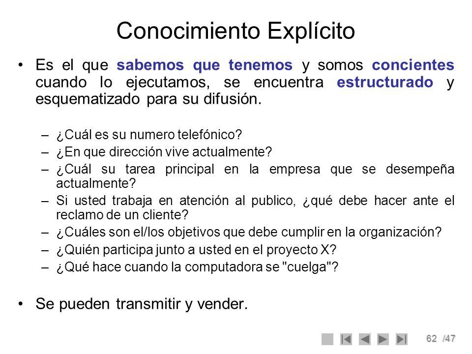 62/47 Conocimiento Explícito Es el que sabemos que tenemos y somos concientes cuando lo ejecutamos, se encuentra estructurado y esquematizado para su