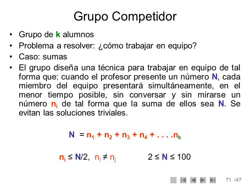 71/47 Grupo Competidor Grupo de k alumnos Problema a resolver: ¿cómo trabajar en equipo? Caso: sumas El grupo diseña una técnica para trabajar en equi