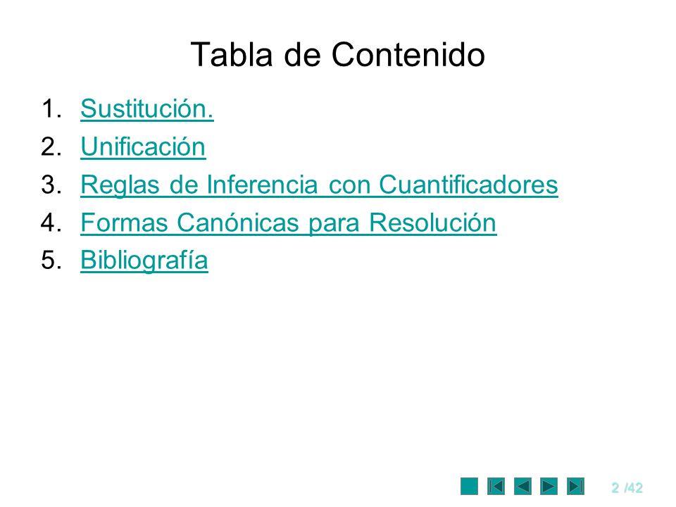 2/42 Tabla de Contenido 1.Sustitución.Sustitución. 2.UnificaciónUnificación 3.Reglas de Inferencia con CuantificadoresReglas de Inferencia con Cuantif