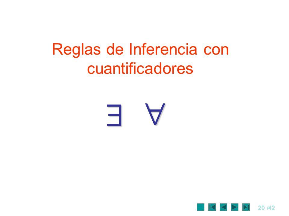 20/42 Reglas de Inferencia con cuantificadores