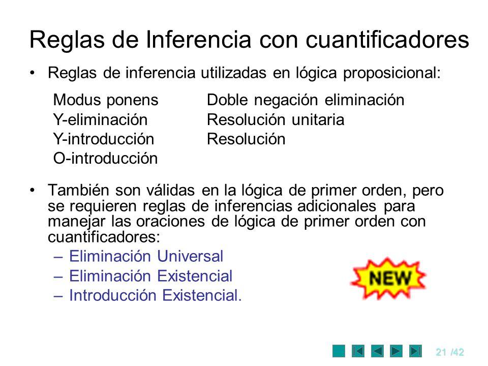 21/42 Reglas de inferencia utilizadas en lógica proposicional: También son válidas en la lógica de primer orden, pero se requieren reglas de inferenci