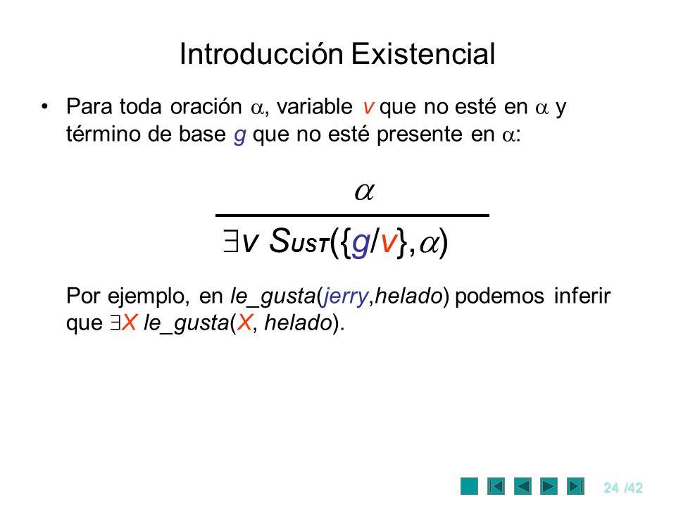 24/42 Introducción Existencial Para toda oración, variable v que no esté en y término de base g que no esté presente en : Por ejemplo, en le_gusta(jer
