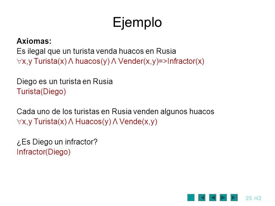 25/42 Ejemplo Axiomas: Es ilegal que un turista venda huacos en Rusia x,y Turista(x) Λ huacos(y) Λ Vender(x,y)=>Infractor(x) Diego es un turista en Ru
