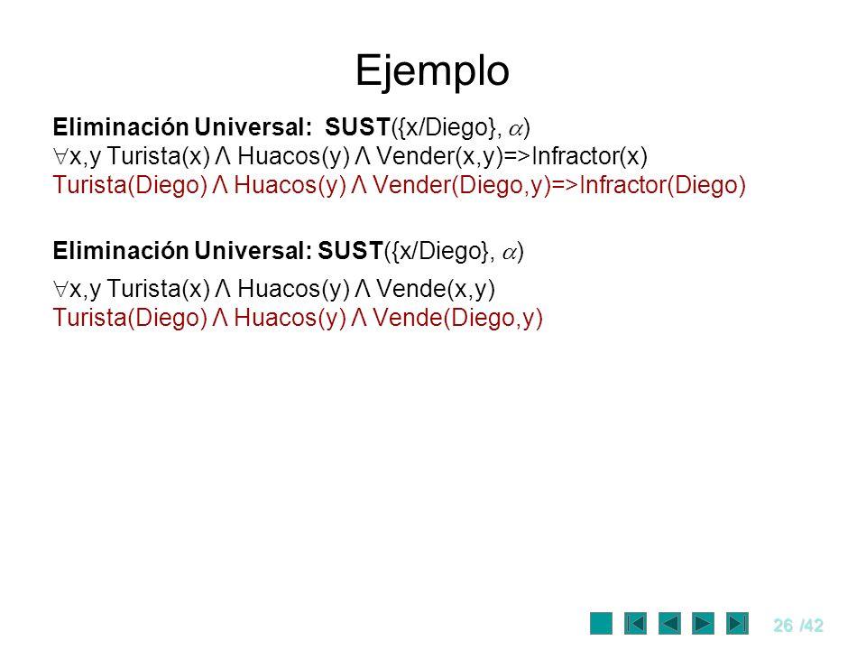 26/42 Ejemplo Eliminación Universal: SUST({x/Diego}, ) x,y Turista(x) Λ Huacos(y) Λ Vender(x,y)=>Infractor(x) Turista(Diego) Λ Huacos(y) Λ Vender(Dieg