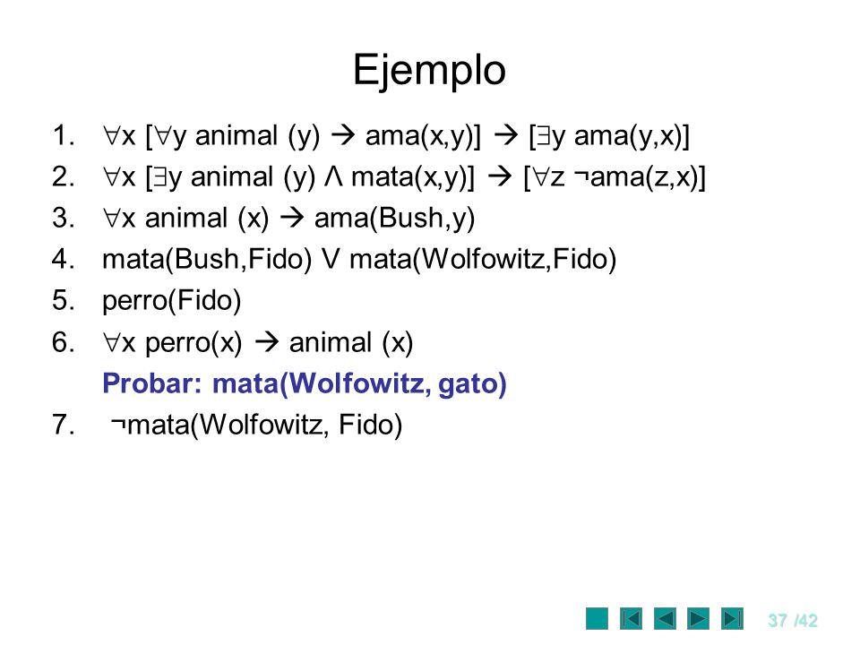 37/42 Ejemplo 1. x [ y animal (y) ama(x,y)] [ y ama(y,x)] 2. x [ y animal (y) Λ mata(x,y)] [ z ¬ama(z,x)] 3. x animal (x) ama(Bush,y) 4.mata(Bush,Fido
