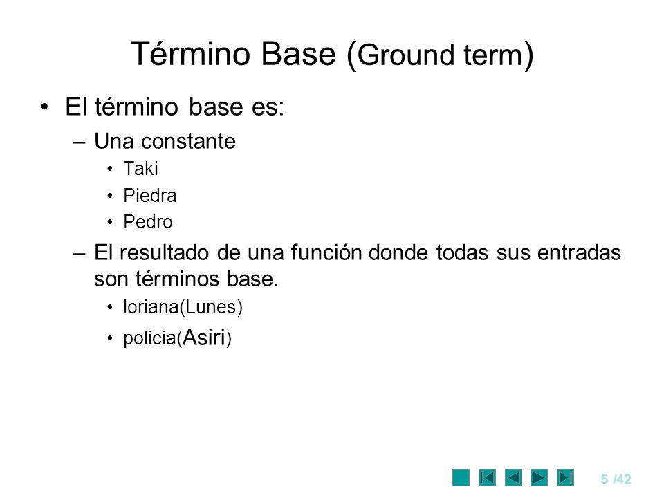 5/42 Término Base ( Ground term ) El término base es: –Una constante Taki Piedra Pedro –El resultado de una función donde todas sus entradas son térmi