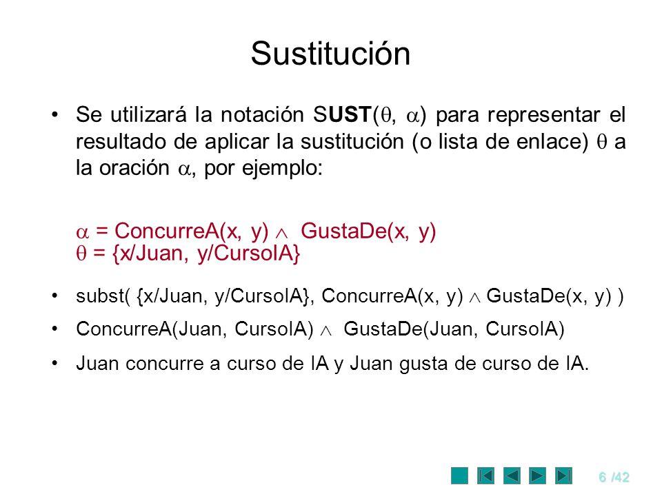 6/42 Sustitución Se utilizará la notación SUST(, ) para representar el resultado de aplicar la sustitución (o lista de enlace) a la oración, por ejemp