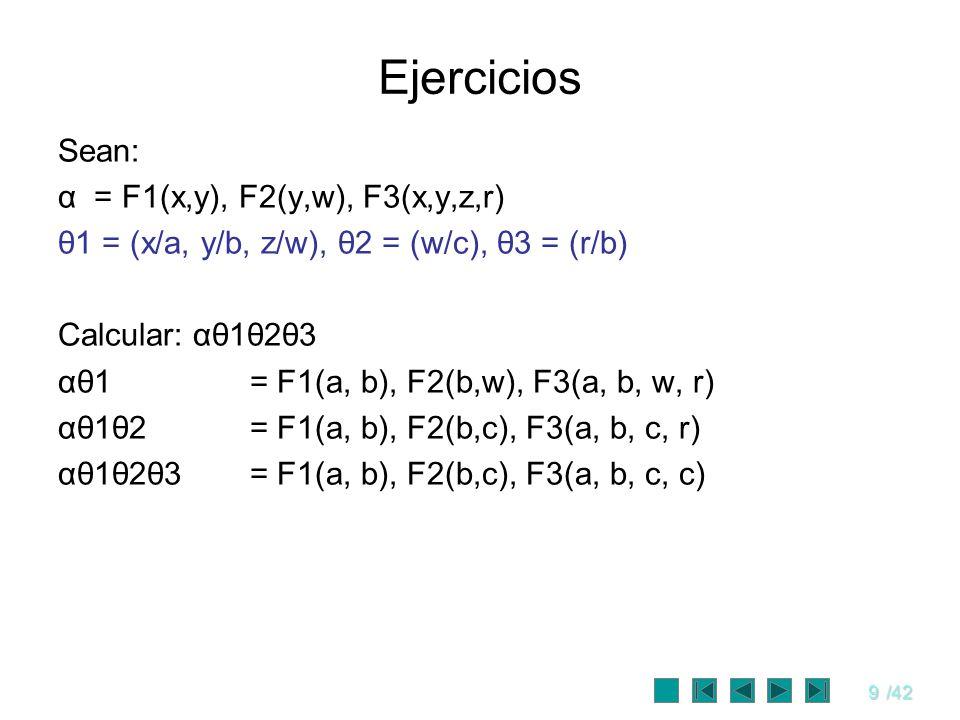 9/42 Ejercicios Sean: α = F1(x,y), F2(y,w), F3(x,y,z,r) θ1 = (x/a, y/b, z/w), θ2 = (w/c), θ3 = (r/b) Calcular: αθ1θ2θ3 αθ1 = F1(a, b), F2(b,w), F3(a,