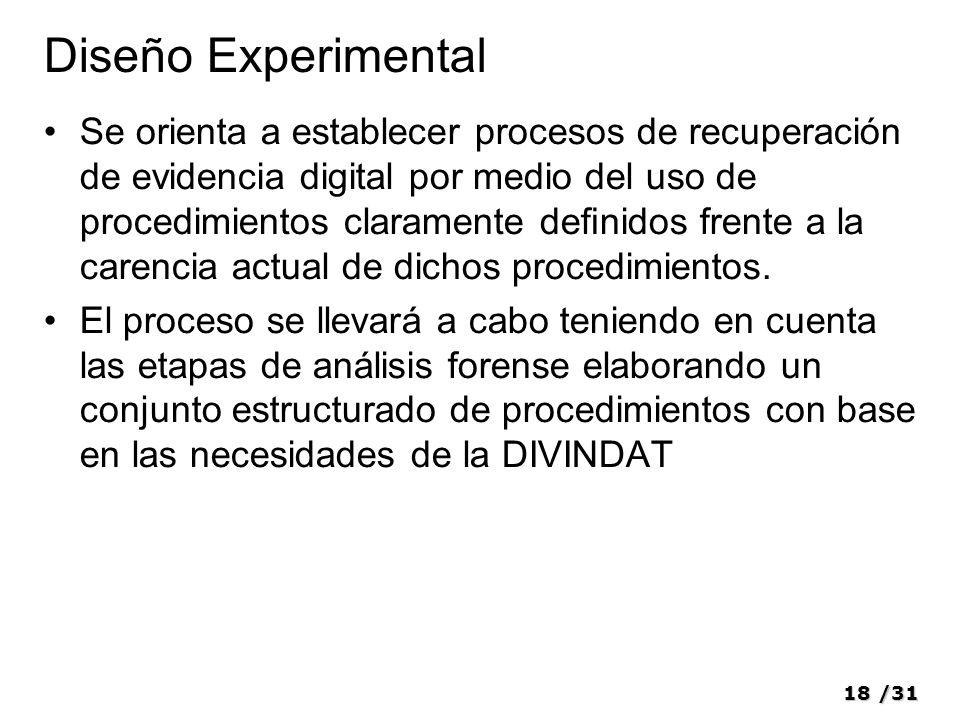 18/31 Diseño Experimental Se orienta a establecer procesos de recuperación de evidencia digital por medio del uso de procedimientos claramente denidos