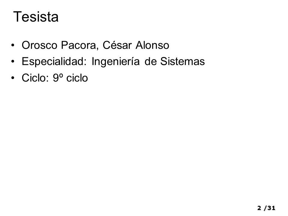 2/31 Tesista Orosco Pacora, César Alonso Especialidad: Ingeniería de Sistemas Ciclo: 9º ciclo