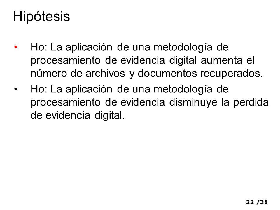22/31 Hipótesis Ho: La aplicación de una metodología de procesamiento de evidencia digital aumenta el número de archivos y documentos recuperados. Ho: