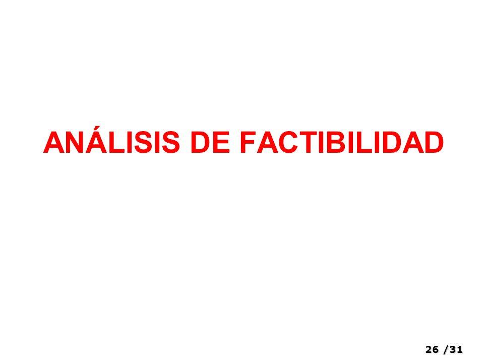 26/31 ANÁLISIS DE FACTIBILIDAD