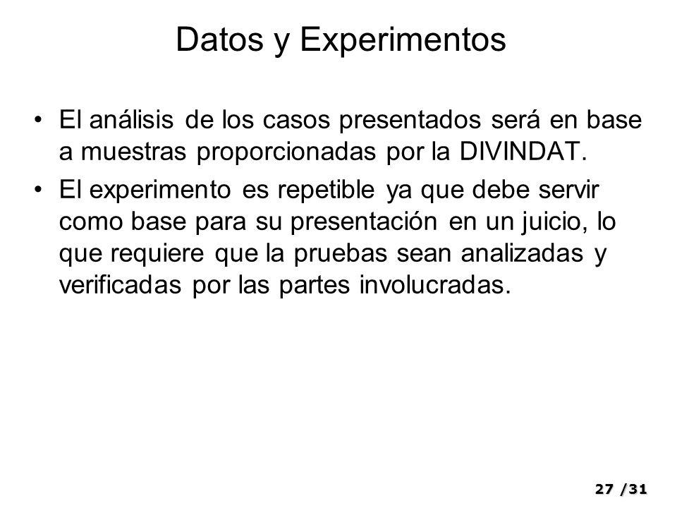 27/31 Datos y Experimentos El análisis de los casos presentados será en base a muestras proporcionadas por la DIVINDAT. El experimento es repetible ya
