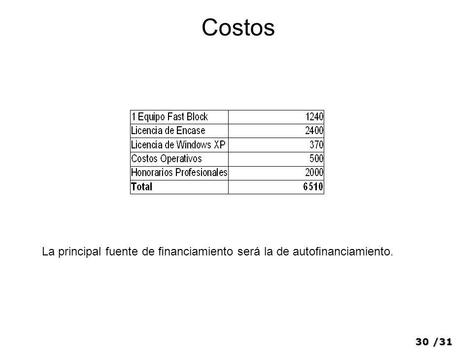 30/31 Costos La principal fuente de nanciamiento será la de autonanciamiento.