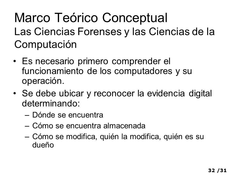32/31 Marco Teórico Conceptual Las Ciencias Forenses y las Ciencias de la Computación Es necesario primero comprender el funcionamiento de los computa
