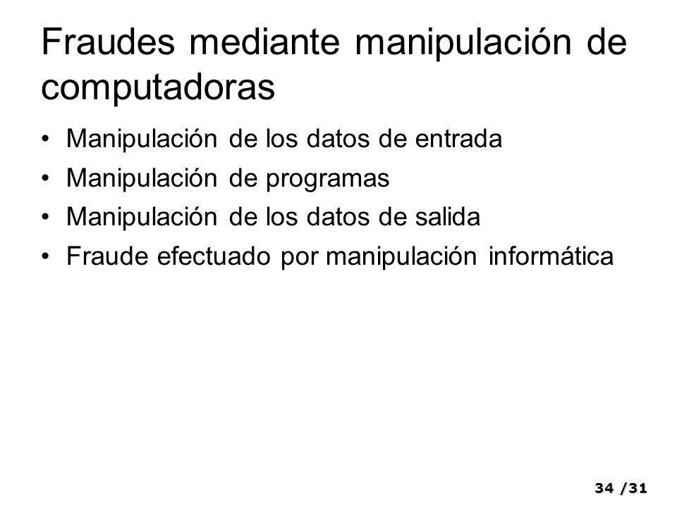 34/31 Fraudes mediante manipulación de computadoras Manipulación de los datos de entrada Manipulación de programas Manipulación de los datos de salida