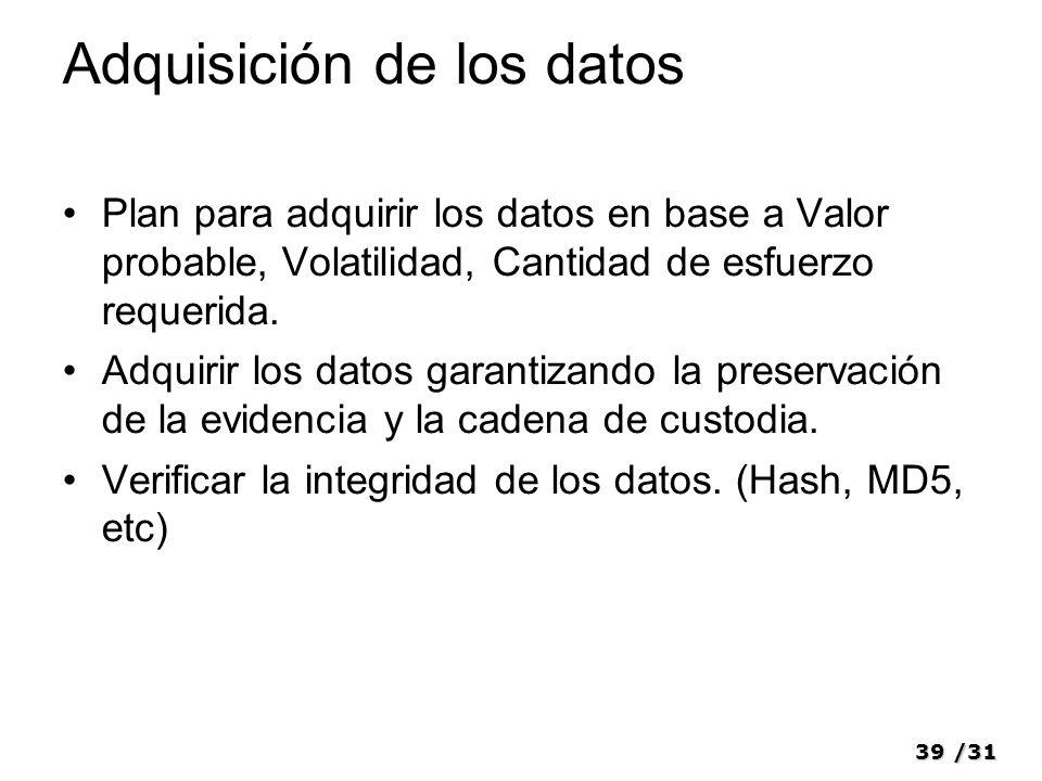 39/31 Adquisición de los datos Plan para adquirir los datos en base a Valor probable, Volatilidad, Cantidad de esfuerzo requerida. Adquirir los datos