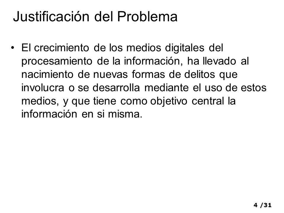 4/31 Justificación del Problema El crecimiento de los medios digitales del procesamiento de la información, ha llevado al nacimiento de nuevas formas