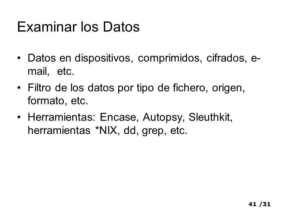 41/31 Examinar los Datos Datos en dispositivos, comprimidos, cifrados, e- mail, etc. Filtro de los datos por tipo de fichero, origen, formato, etc. He
