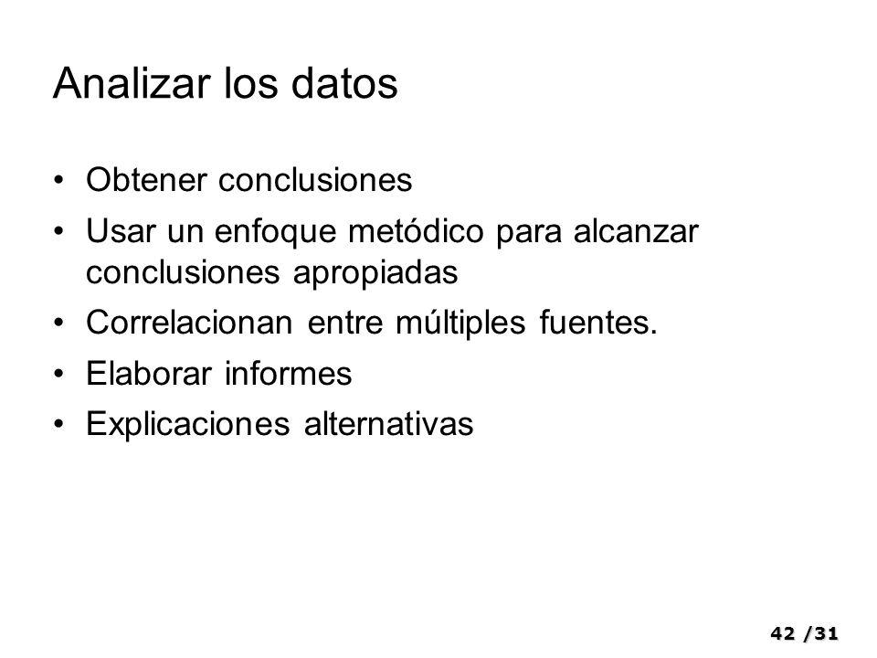 42/31 Analizar los datos Obtener conclusiones Usar un enfoque metódico para alcanzar conclusiones apropiadas Correlacionan entre múltiples fuentes. El
