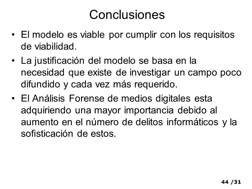 44/31 Conclusiones El modelo es viable por cumplir con los requisitos de viabilidad. La justicación del modelo se basa en la necesidad que existe de i