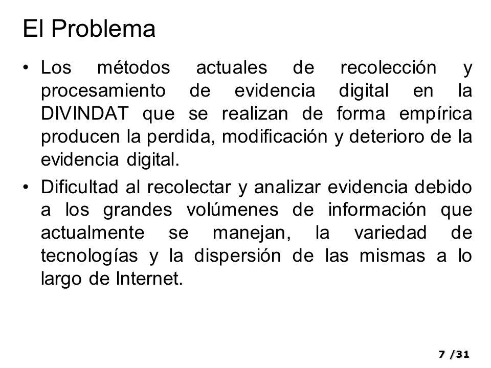 7/31 El Problema Los métodos actuales de recolección y procesamiento de evidencia digital en la DIVINDAT que se realizan de forma empírica producen la