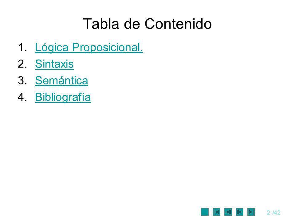 3/42 Objetivos Presentar los conceptos básicos de la lógica proposicional.