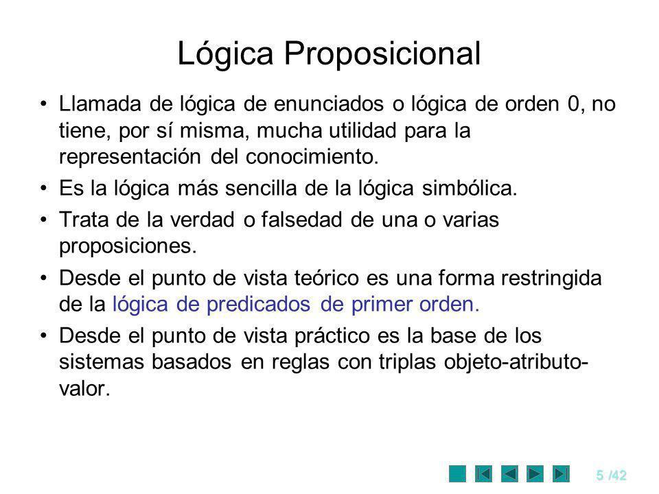 6/42 Proposición Una proposición es una sentencia (oración) correctamente formada que puede ser verdadera o falsa Es una sentencia declarativa.