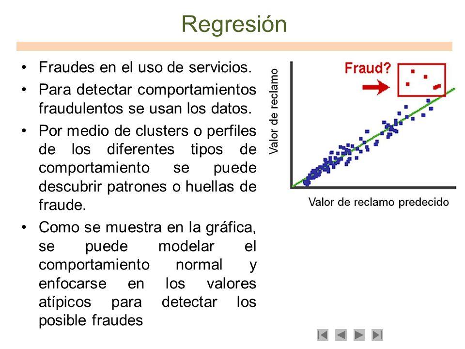 Regresión Fraudes en el uso de servicios. Para detectar comportamientos fraudulentos se usan los datos. Por medio de clusters o perfiles de los difere