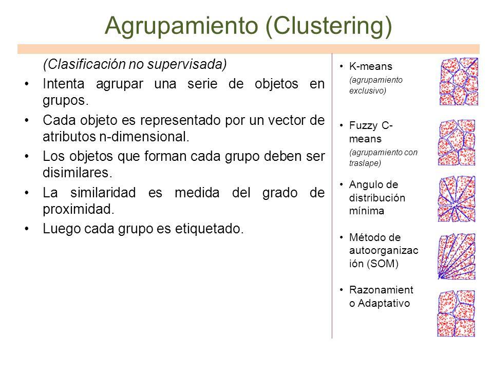 Agrupamiento (Clustering) (Clasificación no supervisada) Intenta agrupar una serie de objetos en grupos. Cada objeto es representado por un vector de