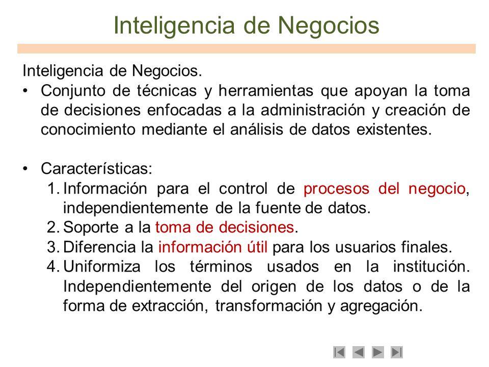 Inteligencia de Negocios Inteligencia de Negocios. Conjunto de técnicas y herramientas que apoyan la toma de decisiones enfocadas a la administración