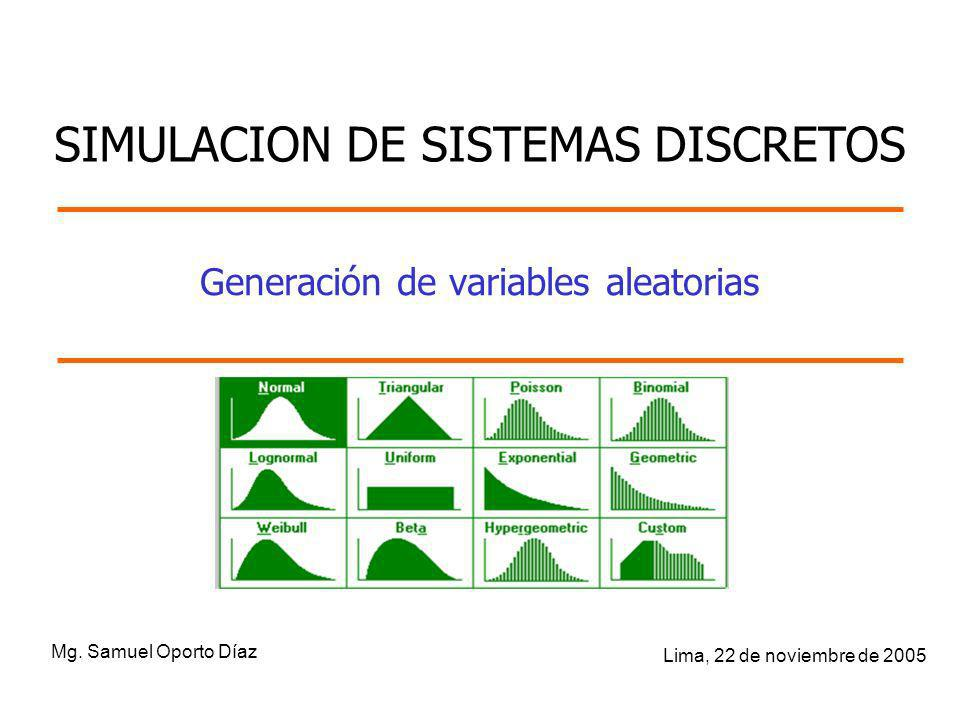 Generación de variables aleatorias Mg. Samuel Oporto Díaz Lima, 22 de noviembre de 2005 SIMULACION DE SISTEMAS DISCRETOS