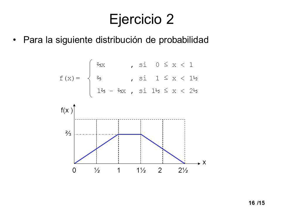 16/15 Ejercicio 2 Para la siguiente distribución de probabilidad f(x)= x, si 0 x < 1, si 1 x < 1½ 1 - x, si 1½ x < 2½ 01½1½22½ x f(x )