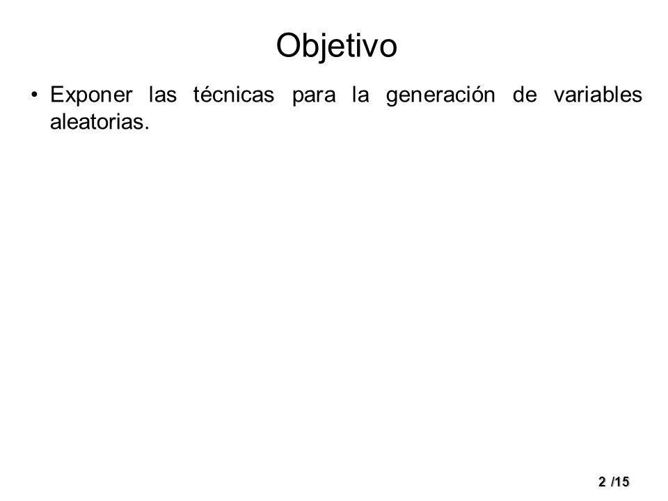 2/15 Objetivo Exponer las técnicas para la generación de variables aleatorias.