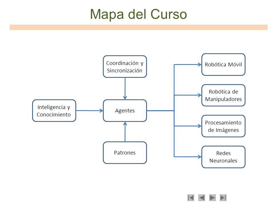 Mapa del Curso Inteligencia y Conocimiento Patrones Agentes Coordinación y Sincronización Robótica Móvil Robótica de Manipuladores Procesamiento de Im