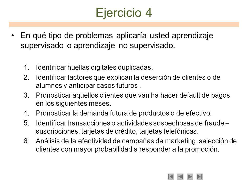 Ejercicio 4 En qué tipo de problemas aplicaría usted aprendizaje supervisado o aprendizaje no supervisado. 1.Identificar huellas digitales duplicadas.