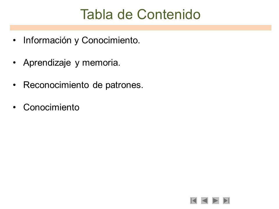 Tabla de Contenido Información y Conocimiento. Aprendizaje y memoria. Reconocimiento de patrones. Conocimiento