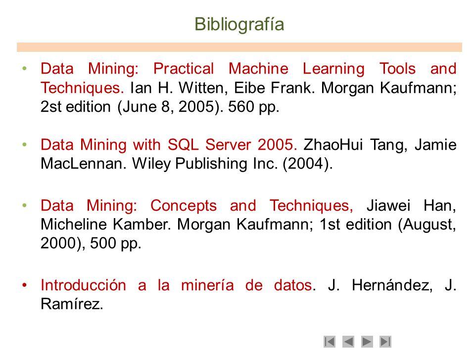 Bibliografía Data Mining: Practical Machine Learning Tools and Techniques. Ian H. Witten, Eibe Frank. Morgan Kaufmann; 2st edition (June 8, 2005). 560