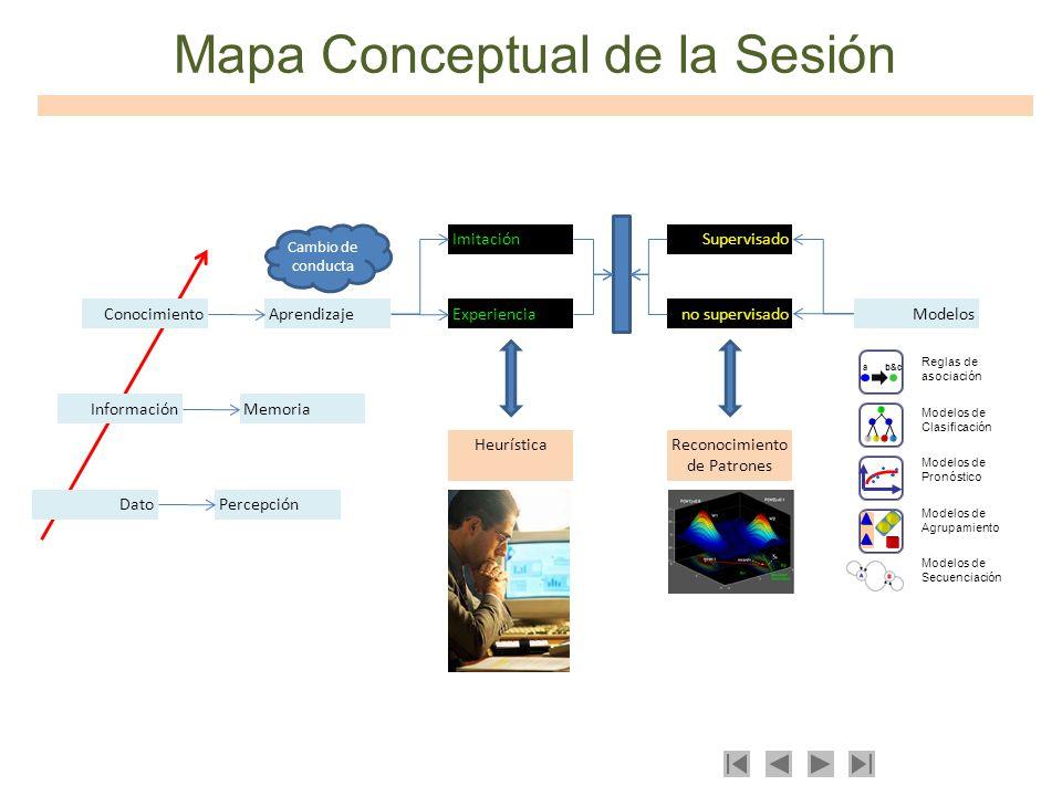 Mapa Conceptual de la Sesión Dato AprendizajeConocimiento InformaciónMemoria Percepción Experiencia Imitación HeurísticaReconocimiento de Patrones Sup