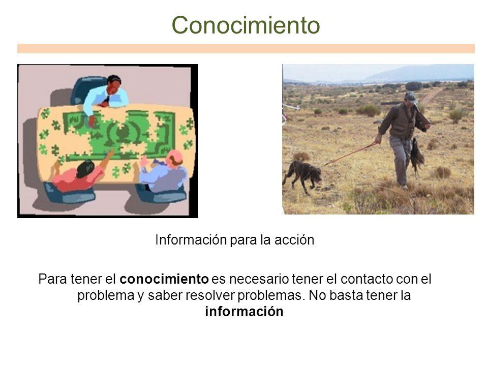 Conocimiento Información para la acción Para tener el conocimiento es necesario tener el contacto con el problema y saber resolver problemas. No basta